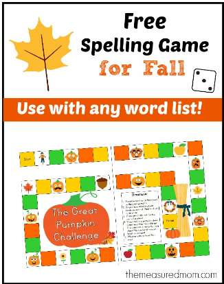 spelling FREE Printable Spelling Game for FALL