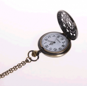 watchopen 300x295 Spider web Carving Pocket Watch Necklace: $3.40 Shipped