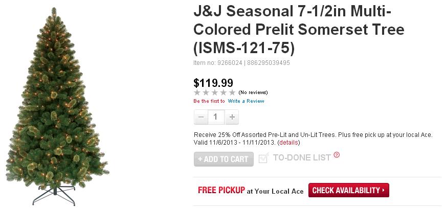 J J Seasonal 7 1 2in Multi Colored Prelit Somerset Tree  ISMS 121 75    Christmas Trees   Ace Hardware