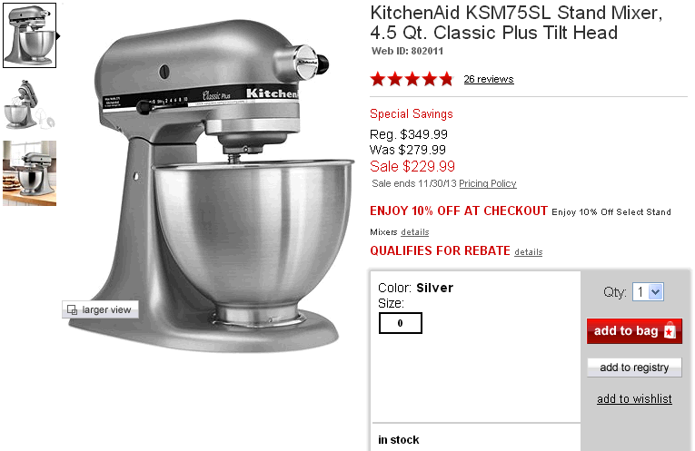 KitchenAid KSM75SL Stand Mixer  4.5 Qt. Classic Plus Tilt Head   BLACK FRIDAY SPECIALS   Kitchen   Macy s