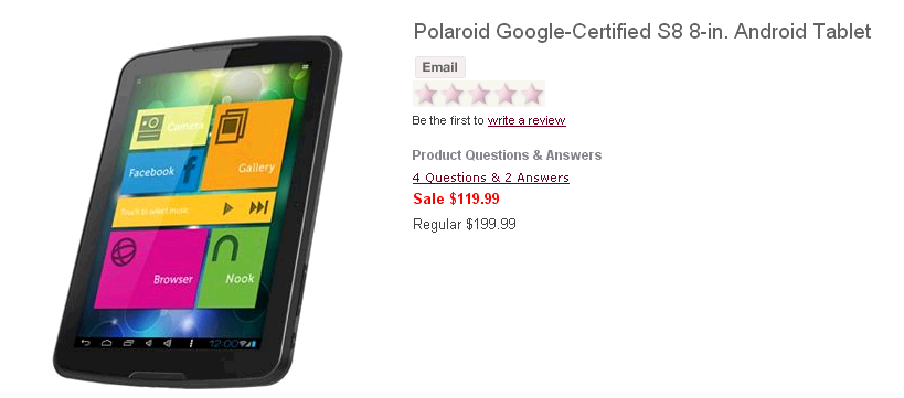 Polaroid Google Certified S8 8 in. Android Tablet