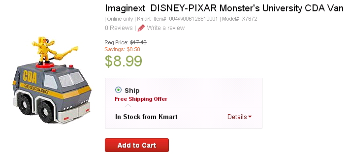 monster university van Imaginext DISNEY PIXAR Monsters University Van Only $8.99