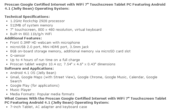 proscan tablet info