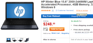walmarthpdeal 300x140 HP Winter Blue 15.6 Laptop Only $248.00 Free Shipping or Store Pickup