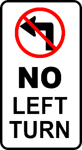 No Left Turn 165x300 No Left Turn and Other Driving Tips To Save Gas