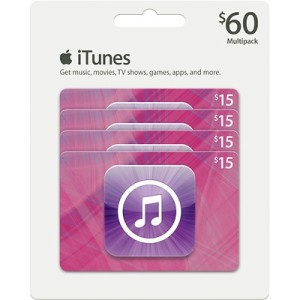 $60 in iTunes Only $51.99 For BJ's members ($54.59 for Nonmembers)