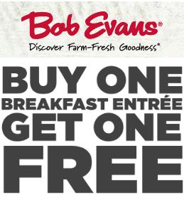 BOGO Bob Evans BOGO Bob Evans Breakfast!