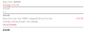 BOGO Cart 300x109 BOGO FREE Catapult Shoes For the Family!