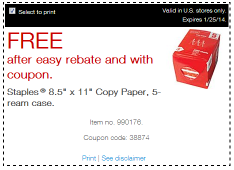 Free paper FREE Case of Staples Paper!