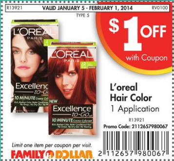Loreal Family dollar coupon