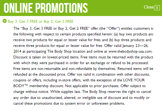 body shop b2g2 sale fine print The Body Shop: Buy 2 Get 2 Free!