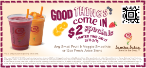 New Jamba Juice Coupon! $2 Fruit and Veggie Smoothies!