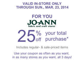 joann q 25% Off Your Total Purchase at Joann Fabric Today!