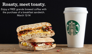 Free Starbucks Coffee with a Breakfast Sandwich Purchase