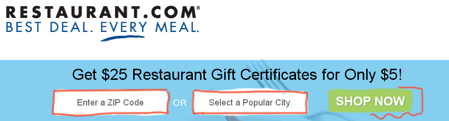 25 for 5 $25 Restaurant.com Gift Certificate for $5! (Today and Tomorrow ONLY!)