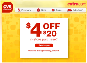 4 Off 20 CVS 300x217 Possible $4/$20 CVS Coupon   Check Your Inbox!