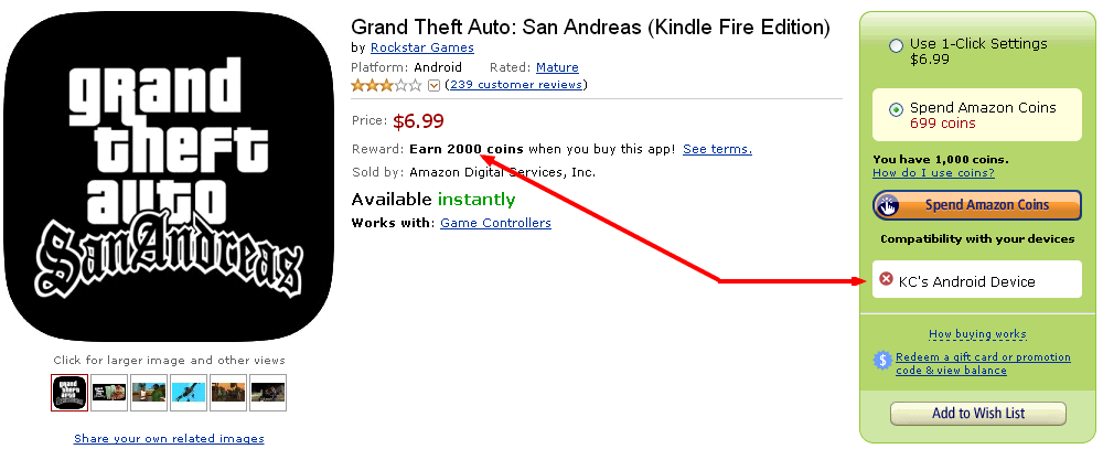 GTA Page Still Available: FREE $10   $23 Credit for Amazon Appstore!
