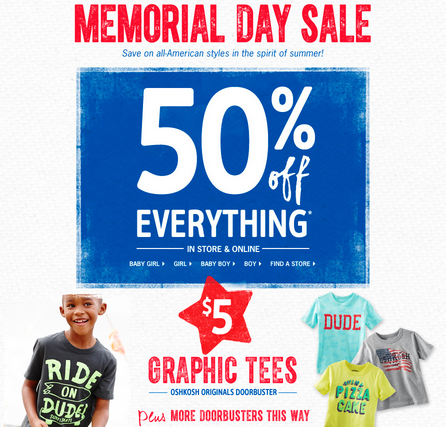 OshKosh Memorial Day Sale 2014