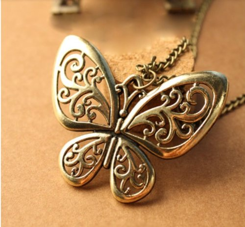 Vintage Bronze Butterfly Pendant Necklace $0.58 Shipped!