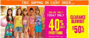 The Childrens Place 40 Off Plus FREE Shipping 300x130 40% Off EVERYTHING + FREE Shipping at The Childrens Place | Today ONLY!