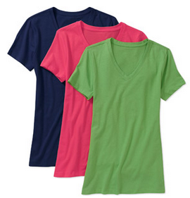Faded Glory Women's Cotton Jersey V-Neck Tee 3-Pack Just $7.99!