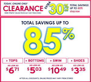 Justice 30 Off Clearance
