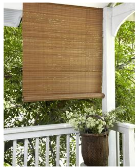 Fruitwood Brown Outdoor Roll Up Patio Shade From