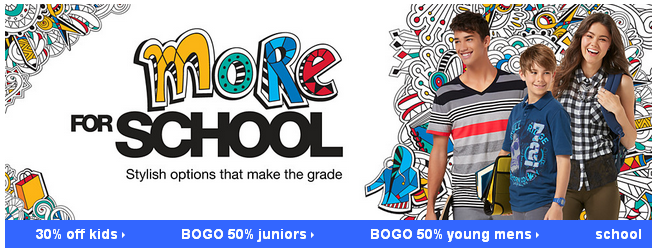 BOGO 50% Off Young Men's and Juniors Apparel at Kmart!