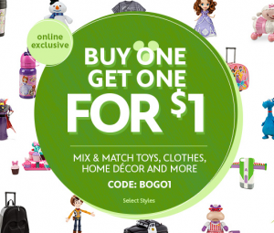 Disney BOGO1 300x255 *HOT* BOGO for $1 Disney Store Sale | Start That X mas Shopping!
