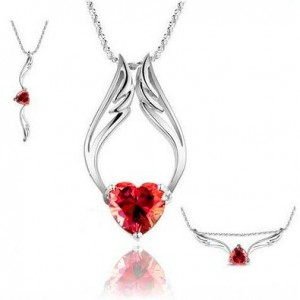 White Gold Plated Heart and Angel Wings Necklace Only $8.95 Shipped | Wear it 3 Ways!