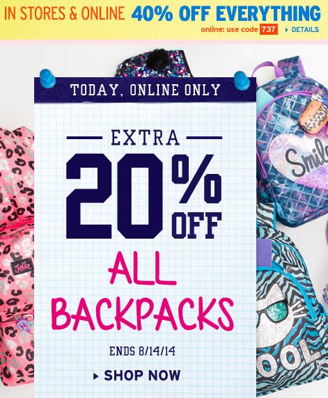 NICE Justice Sale: 40% Off Everything + 30% Off Clearance and 20% off Backpacks!