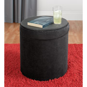 Round Ottoman Collapsable Faux Leather Storage Ottoman and Foot Stool Only $19 Shipped!