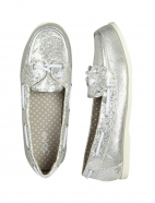 Silver Glitter Boat Shoes
