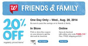 Walgreens Friends Family