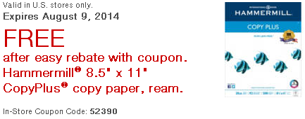 FREE Ream of Hammermill Copy Paper After Easy Rebate!
