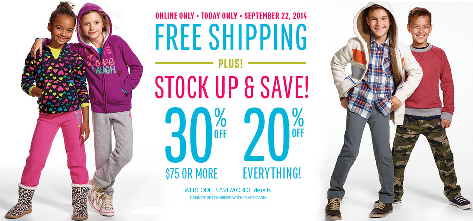 30% Off + FREE Shipping at The Children's place Today ONLY!