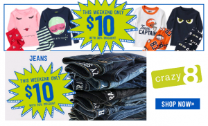 $10 Jeans and Sleepwear at Crazy 8 This Weekend!