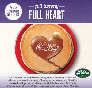 FREE Perkins Pancakes Tomorrow 9/25/14!