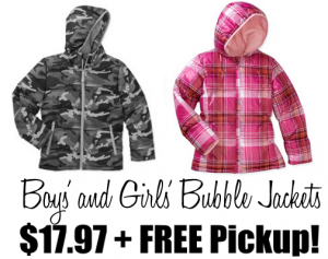Boys' and Girls' Bubble Jackets Just $17.97 Each + FREE Store Pickup!