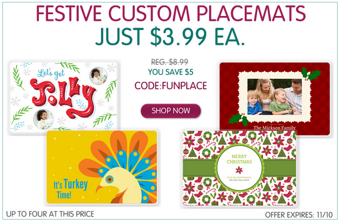 Custom Festive Placemats Just $3.99 Each | Great for the Holidays!