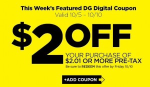 *HOT* $2 off DG Purchase of $2.01 is Back This Week!