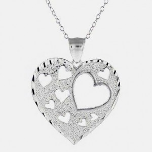 Silver Diamond Cut Heart Necklace—$13.99 Shipped!