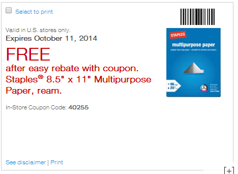 FREE Staples Multipurpose Paper After Easy Rebate!