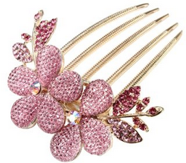 Pink Rhinestone Leaf and Flower Hair Comb Only $2.50 + FREE Shipping!