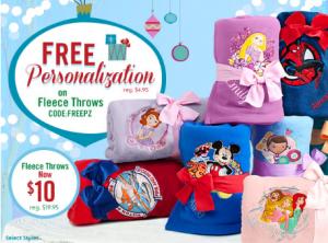 Disney Fleece Throws Free personalization