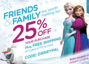 Disney Store 25 off