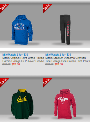 NCAA 2 for 35 Two NCAA Sweatshirts for $35 + FREE Shipping!