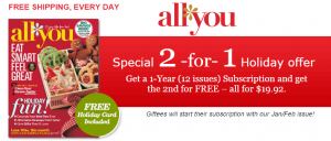 screenshot subscription.allyou.com 2014 12 17 00 37 08 300x128 Give the Gift of All You With a BOGO FREE Sale!