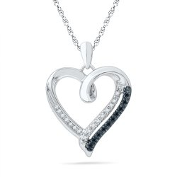 black and diamond heart necklace