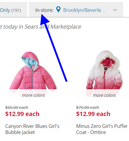 Sears coats location